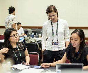 workshop participants conversing